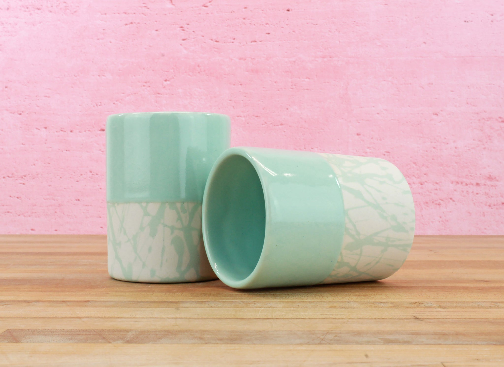 Limited Edition 8 Ounce Cup - Mint Glaze over Mint/Cream Splatter