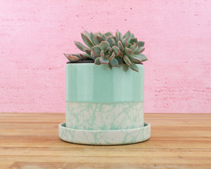 Limited Edition 4 Inch Planter - Mint Glaze over Mint/Cream Splatter