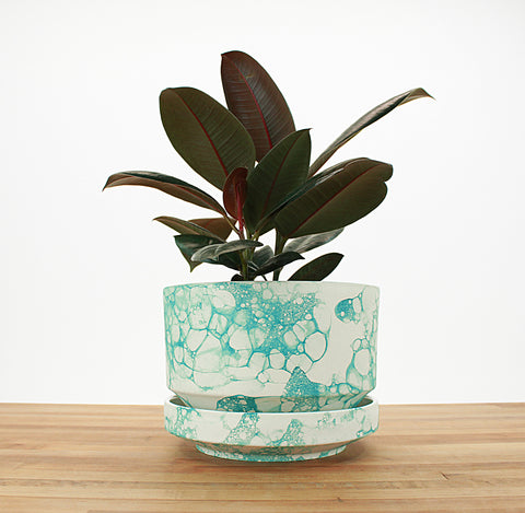 8 inch Cylinder Planter - Teal Bubble
