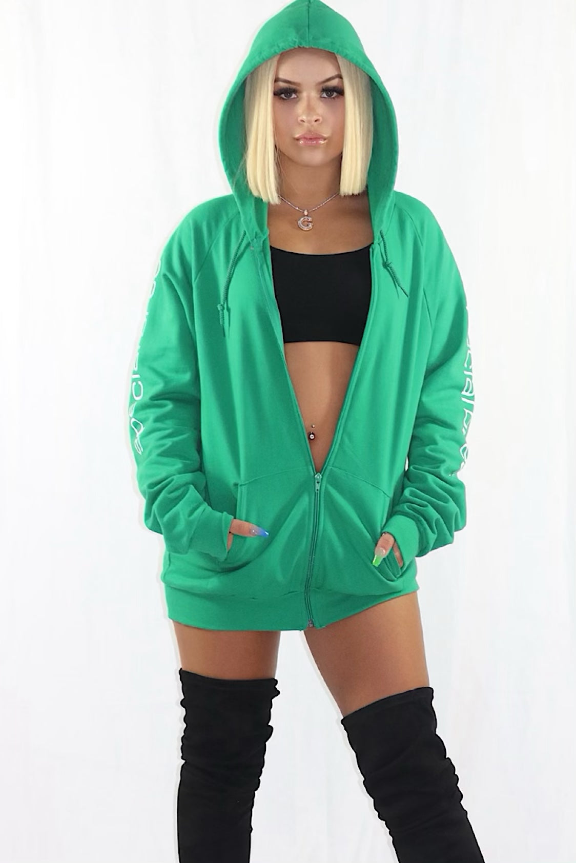 Green Zipped Hoodie with White Logo