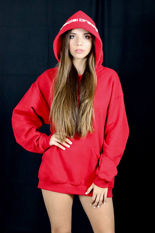 Red Hoodie with Teal Logo Unisex