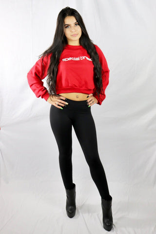 Black Cropped Hoodie with Red Logo