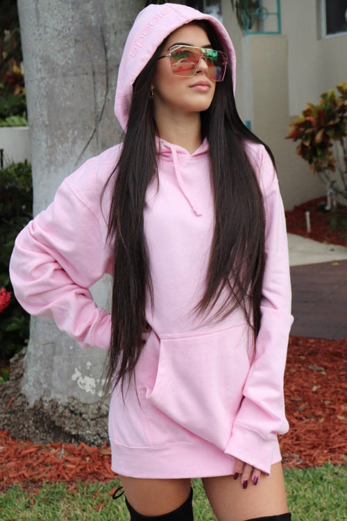 Womens Pink Hoodie with Pink Logo