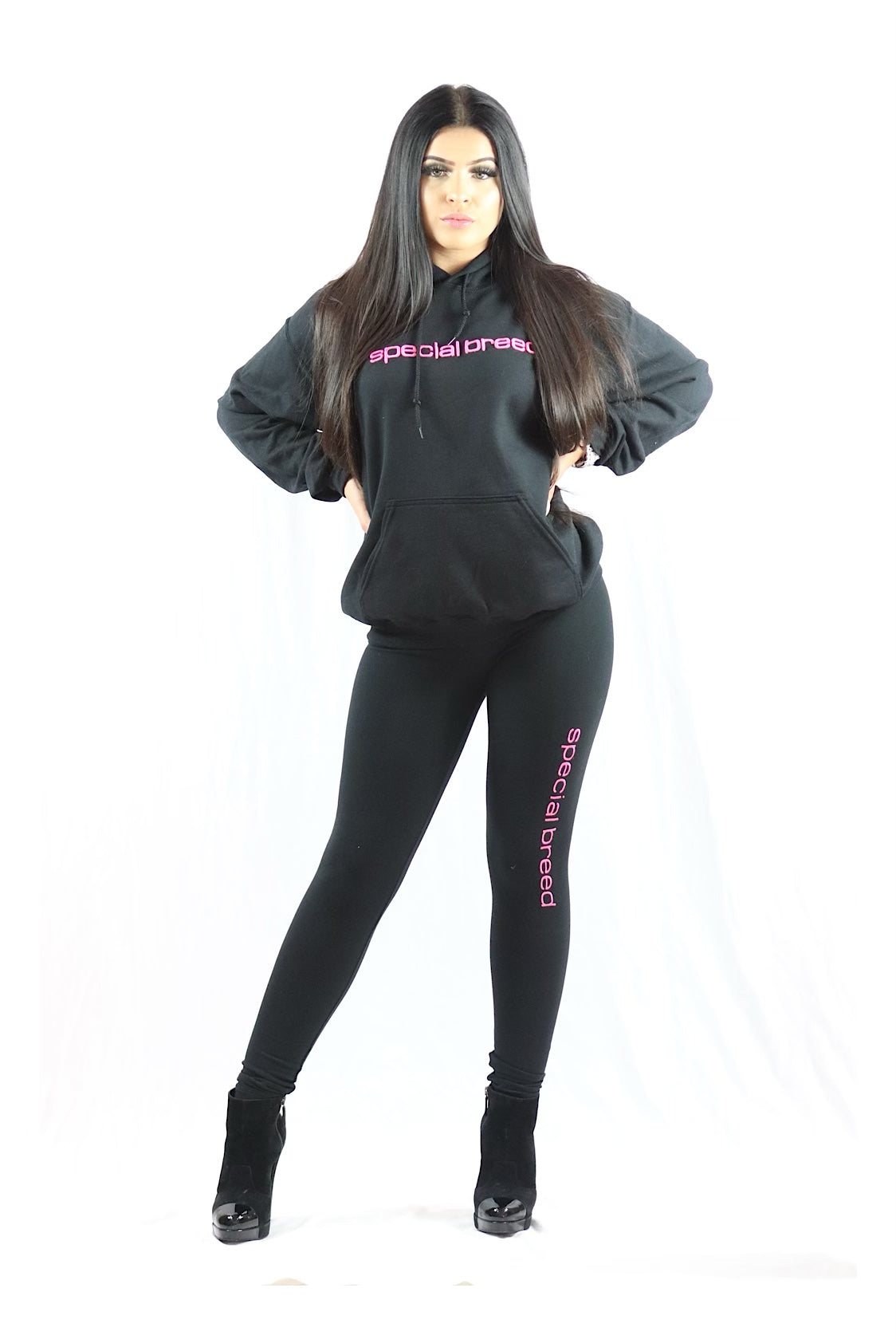 Black Hoodie with Neon Pink Logo
