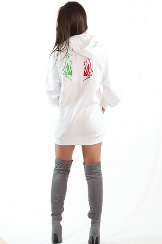 Red Zipped Hoodie with White Logo