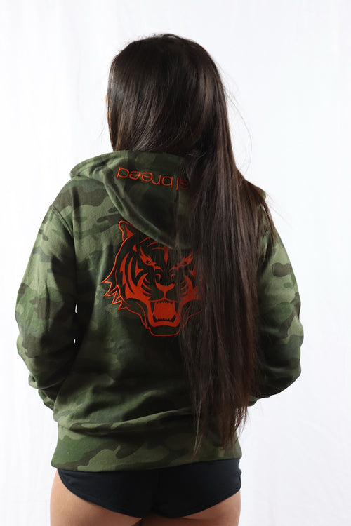 Camo Zipped Hoodie Jacket with Orange Logo