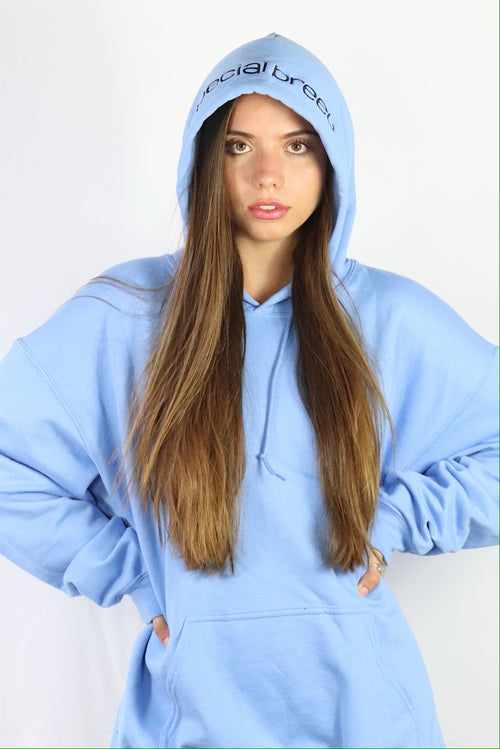 Carolina Blue Hoodie with Black Logo