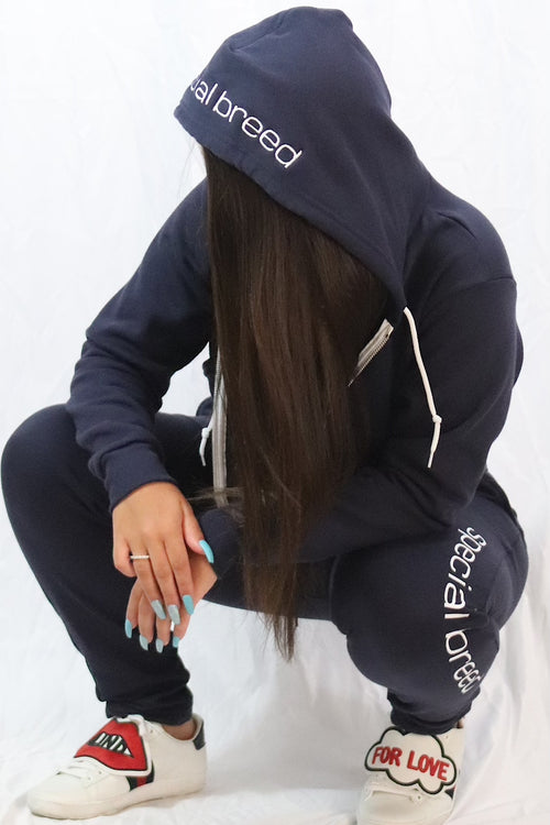 Navy Cropped Hoodie with White Logo