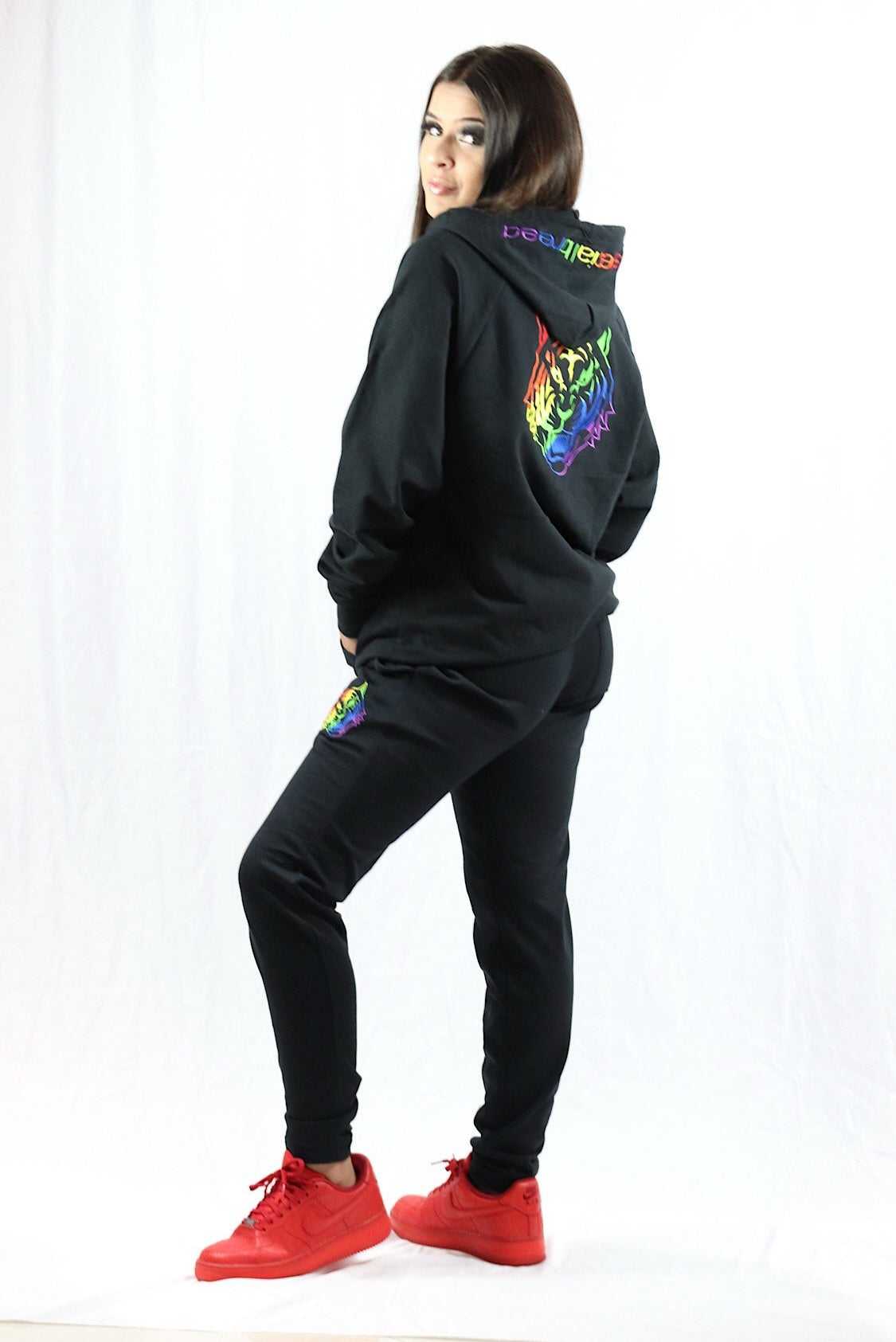 Black Slim Pant w  Rainbow Logo