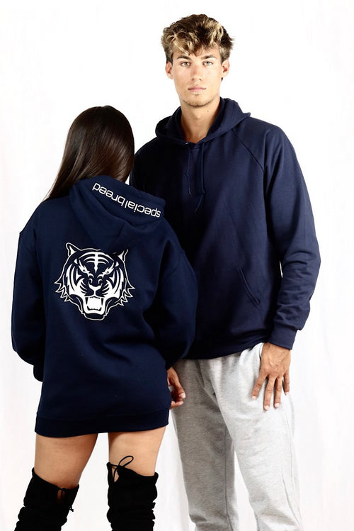 Navy Hoodie with White Logo