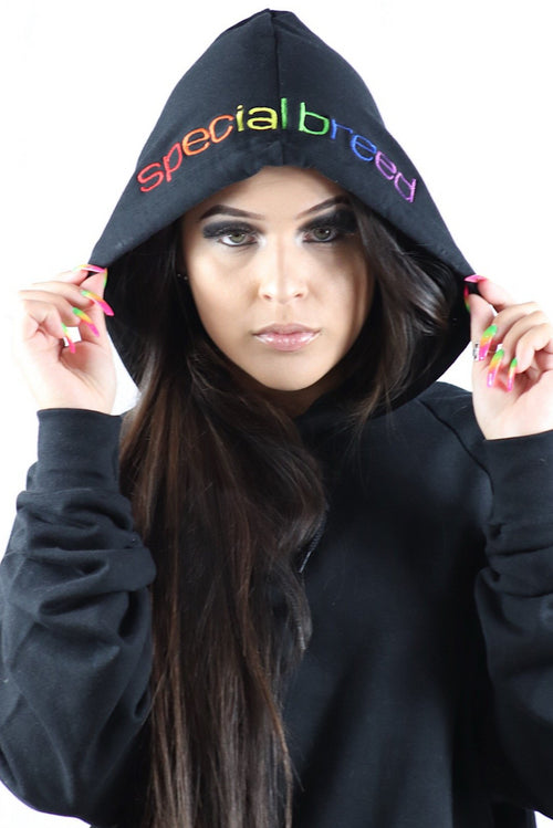 Black Hoodie with Rainbow Logo