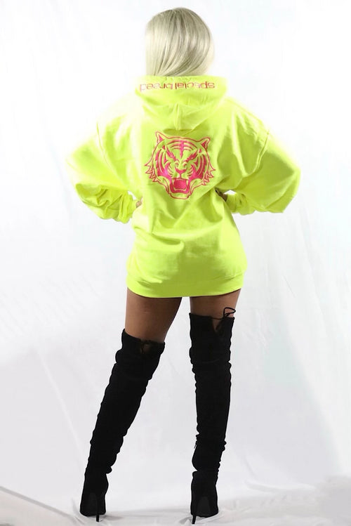 Neon Yellow Hoodie with Neon Pink Logo