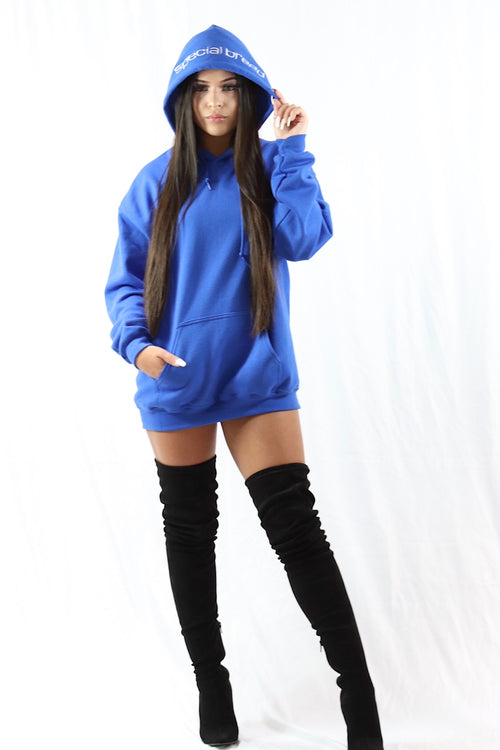 Royal Blue Hoodie with White Logo