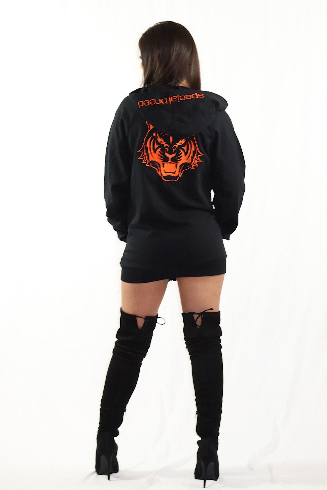Black Zipped Hoodie with Orange Logo