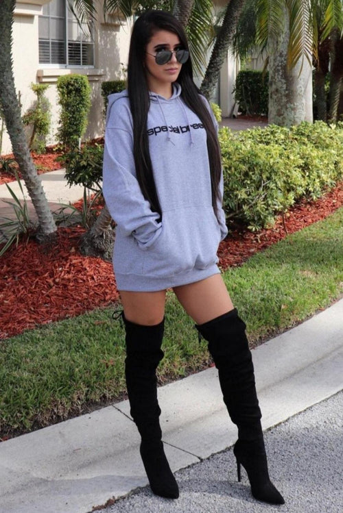 Womens Grey Hoodie with Black Logo
