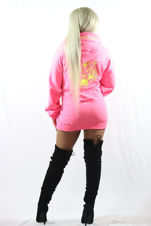 Neon Pink Hoodie with Neon Yellow Logo