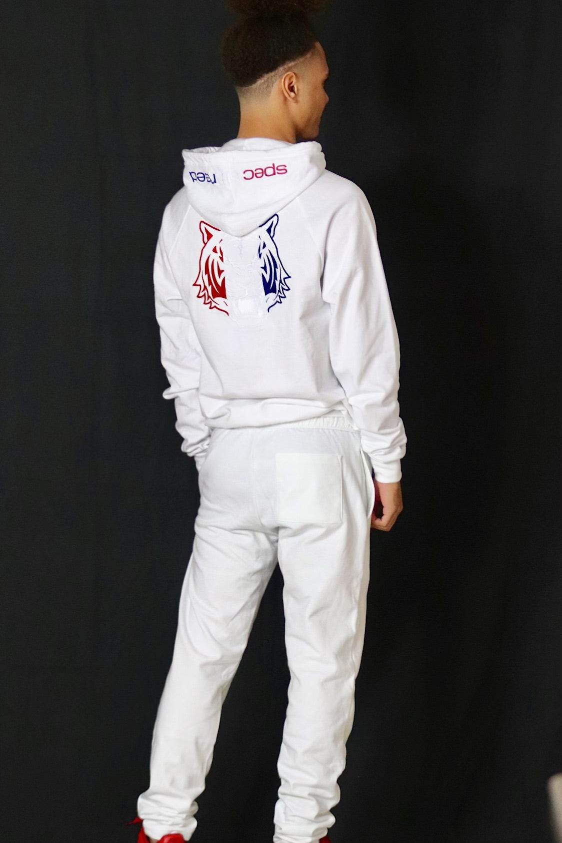 White Hoodie with Red, White, Blue Logo
