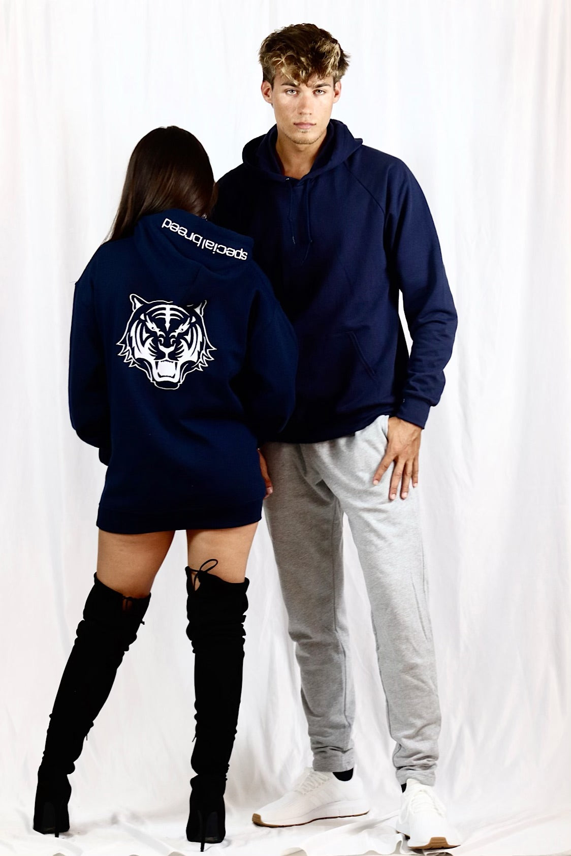 Navy Blue Hoodie with White Logo