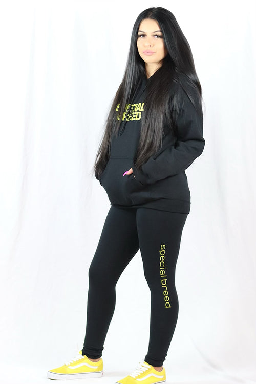 Black Hoodie with Yellow Block Logo