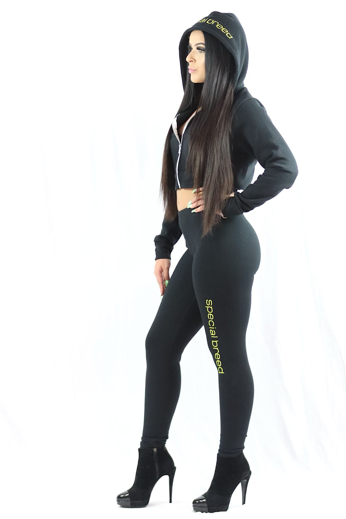 Black Legging w Yellow Logo