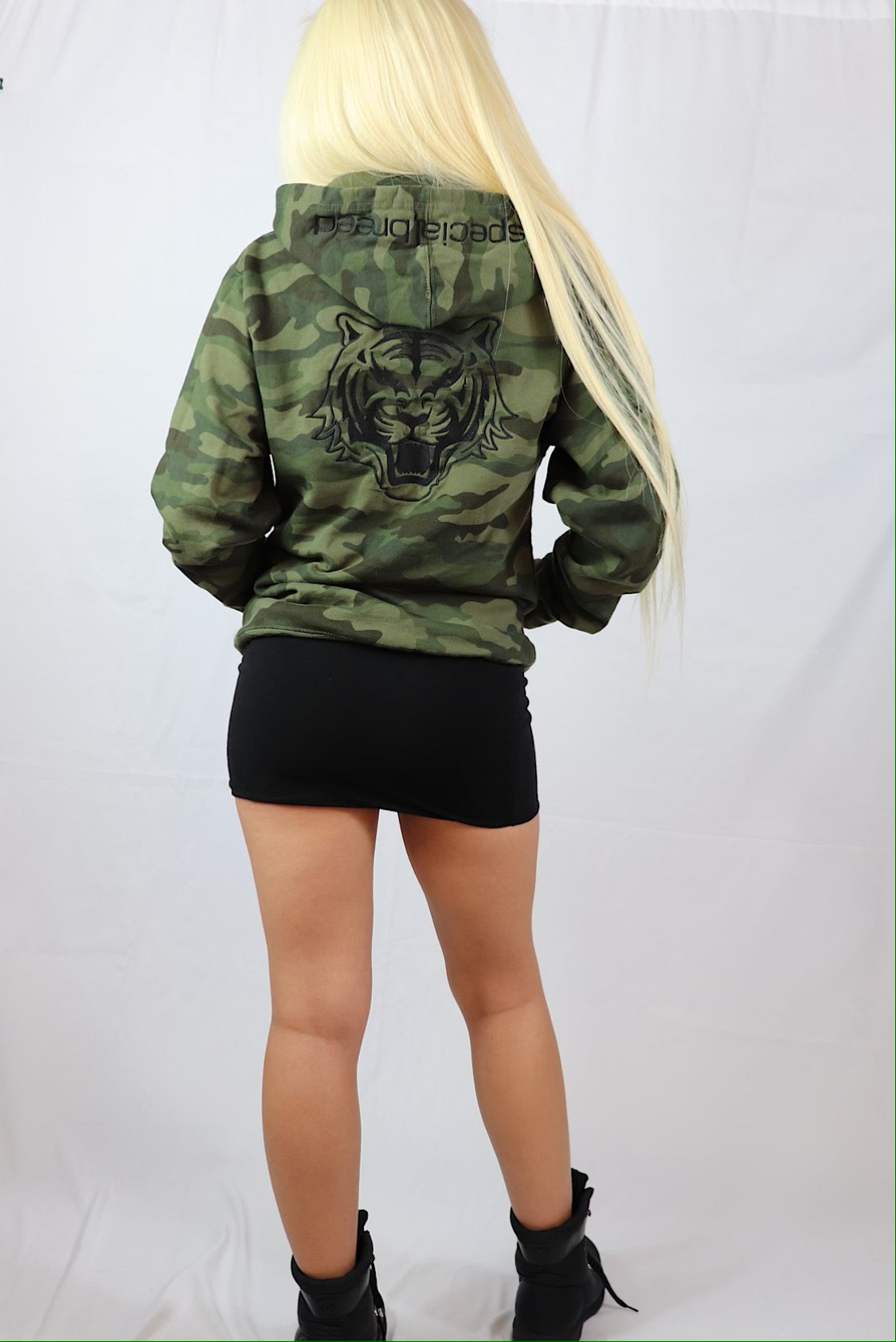 Camo Hoodie  with Black Logo