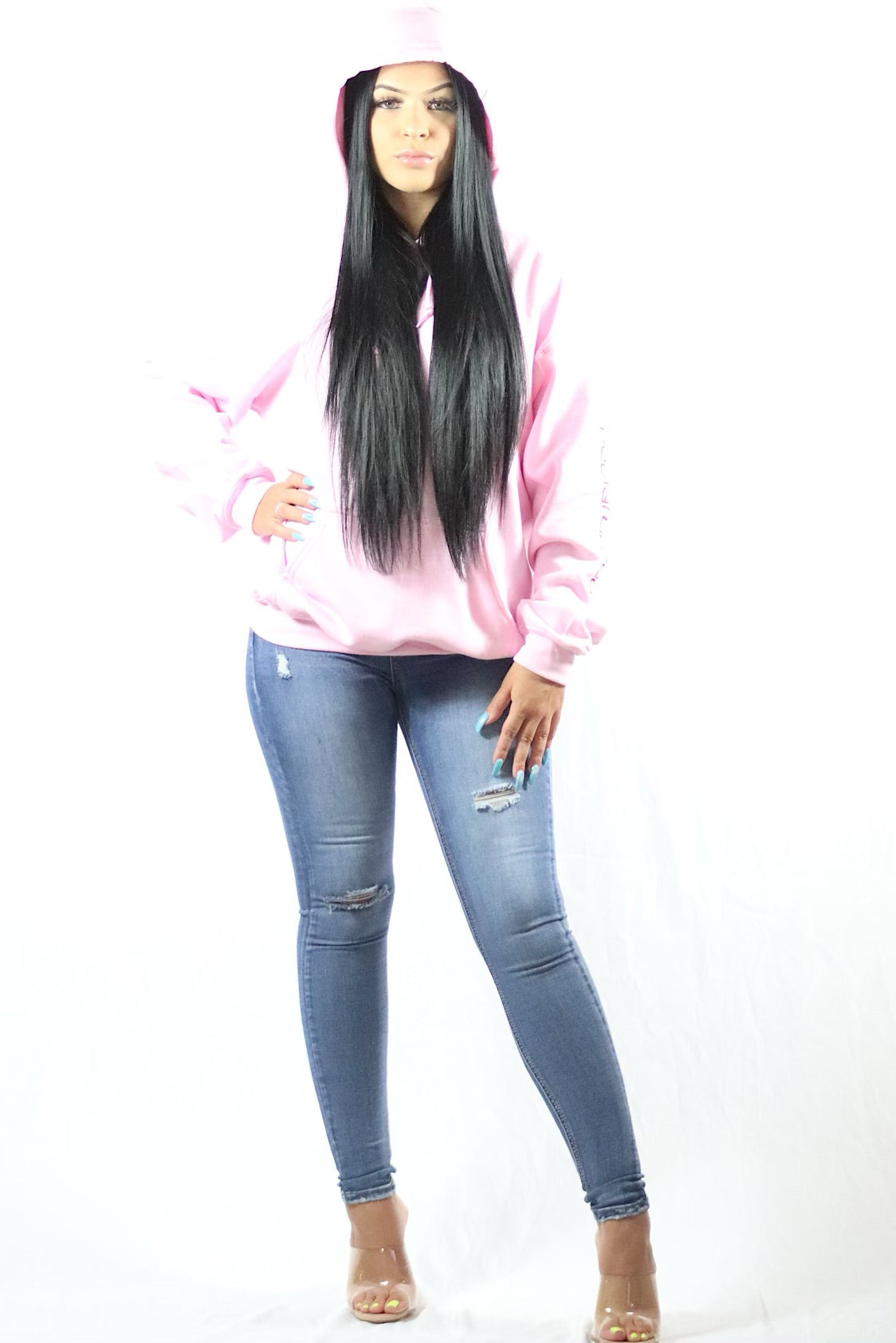 Womens Pink Hoodie with Red Logo