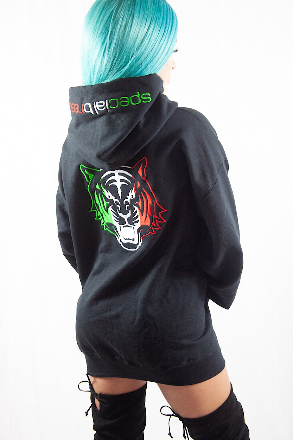 Black Hoodie with Green White Red Logo
