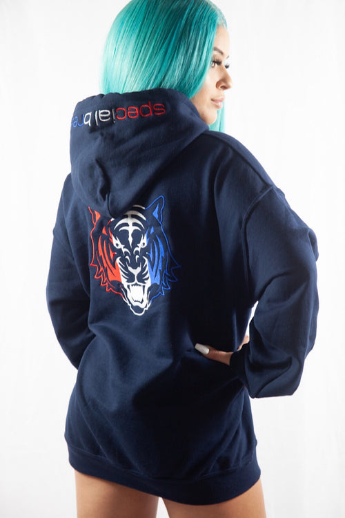 Navy Hoodie with Red, White, Blue Logo