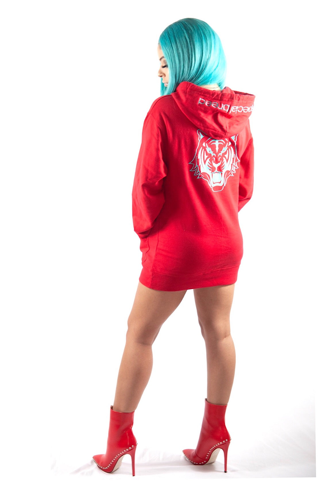 Red Hoodie with Teal  Logo