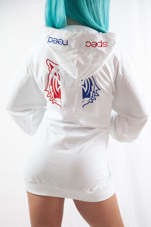 White Hoodie with Red White Blue Logo