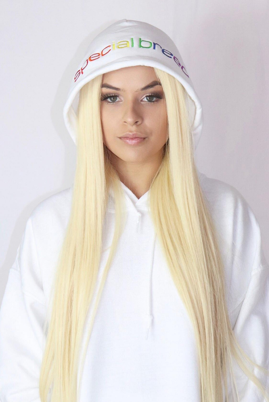 White Hoodie with Rainbow Logo
