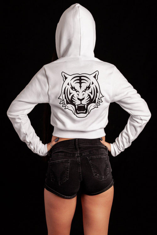 White Cropped Hoodie with Black Logo - specialbreed