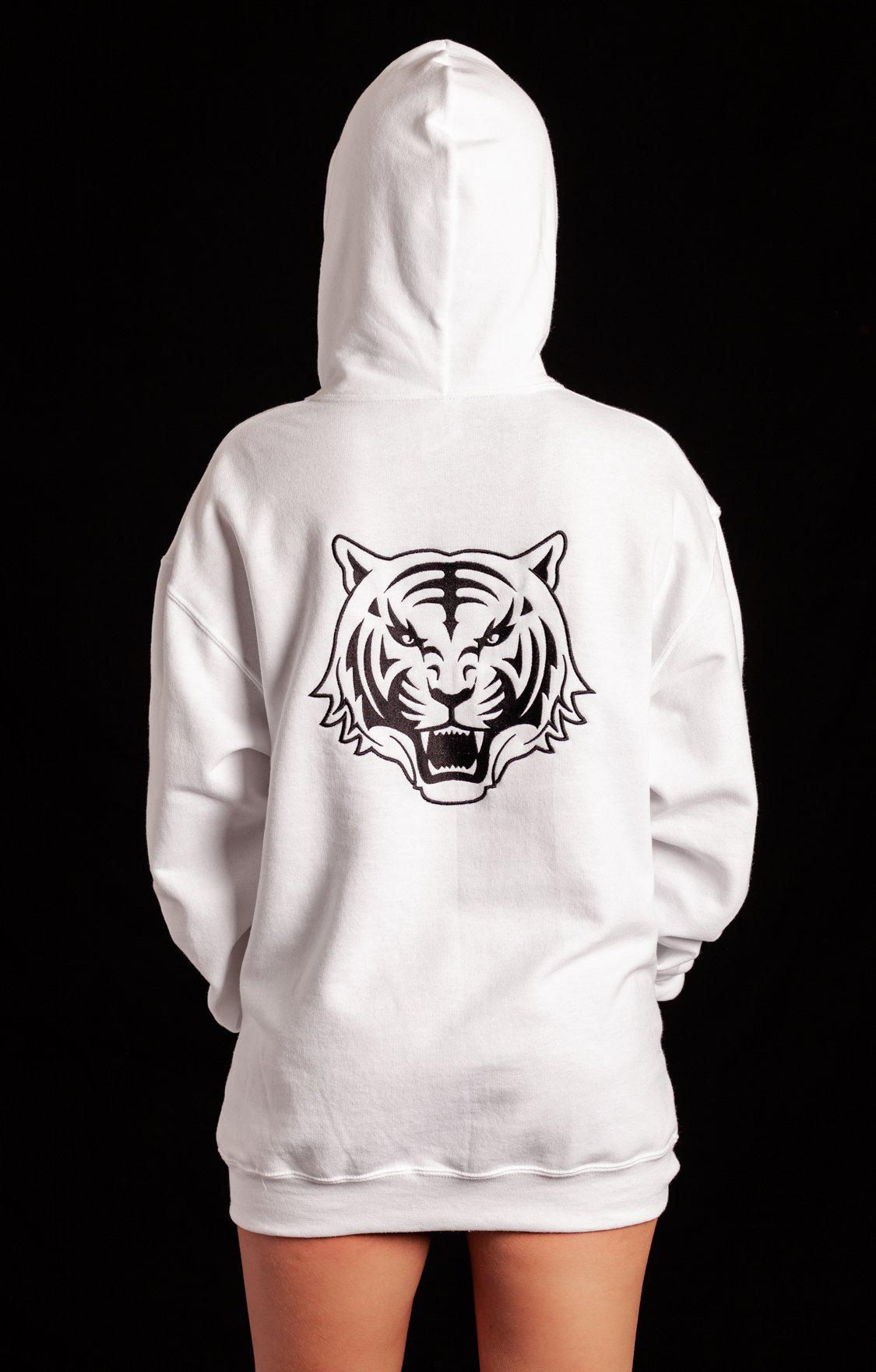 White Hoodie with Black Logo Unisex - specialbreed