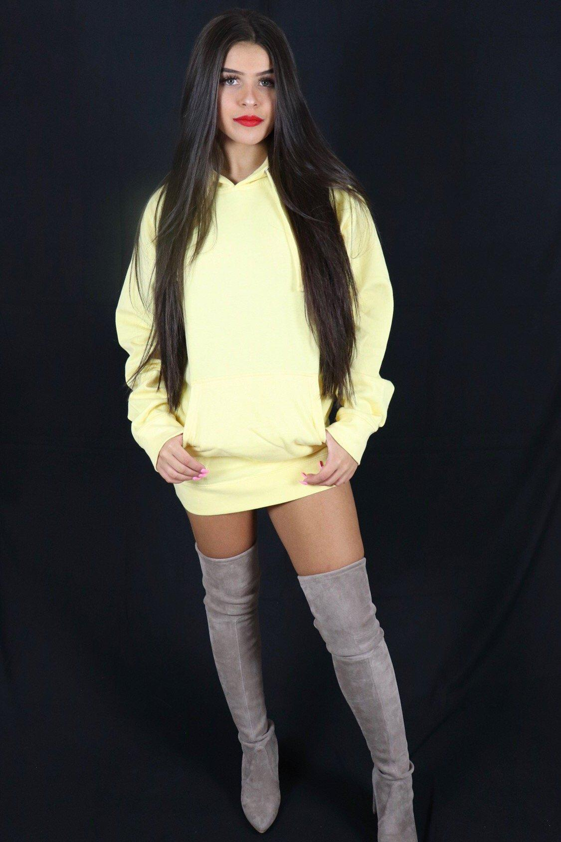 Women's Pale Yellow Hoodie with Logo - specialbreed