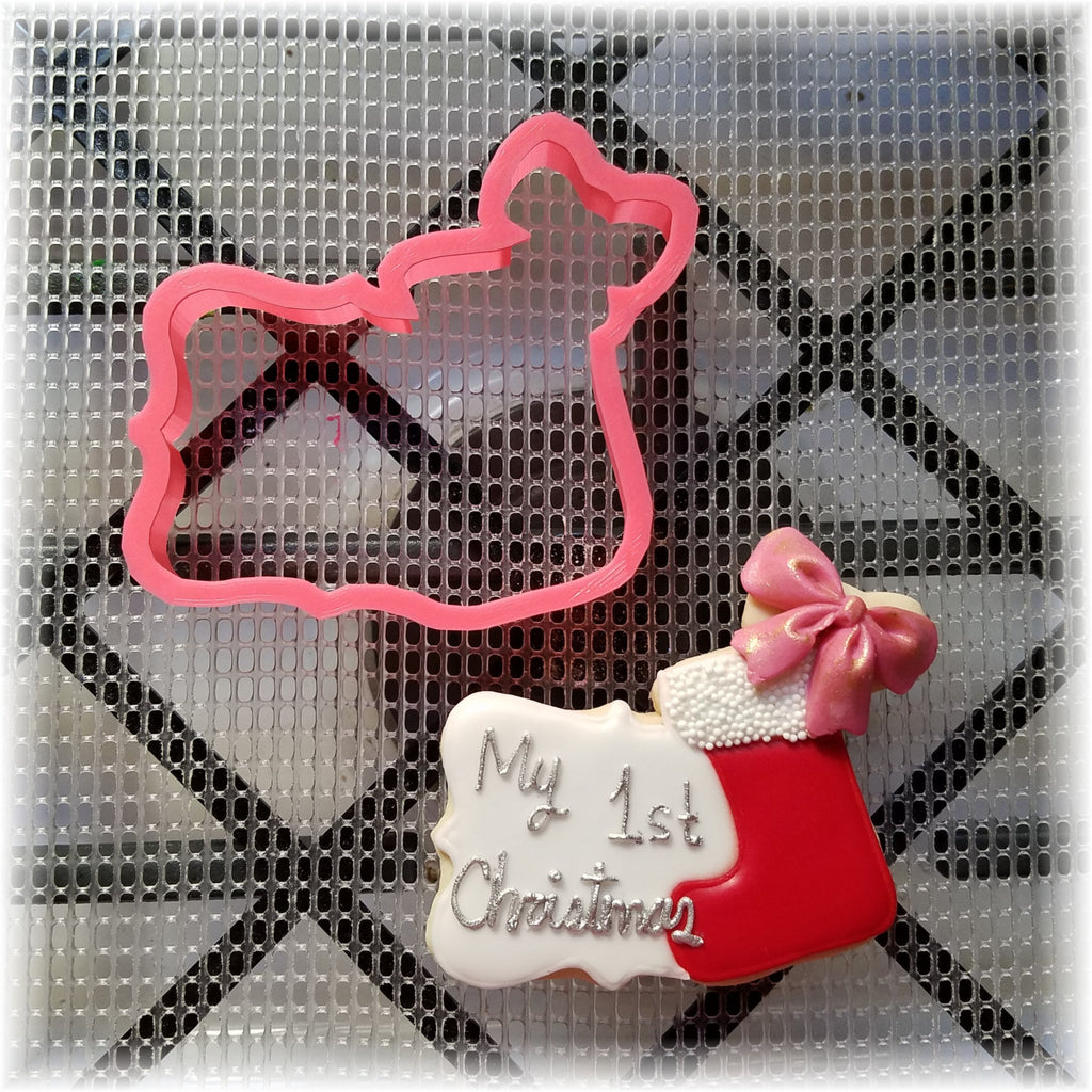 Christmas Stocking on Plaque Cookie Cutter