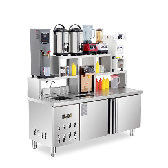 Bubble milk tea shop console with refrigeration and milk tea making equipment