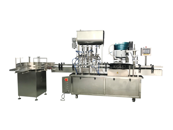 NLA-ALC-500 50-500ML automatic four nozzles liquid bottle filling machine, caps feeder, capping machine