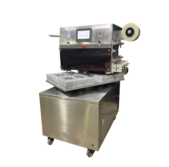High Speed Rotary Type MAP Tray Sealer, Modified Atmosphere Packaging Machine , Vacuum Tray Sealing Machine With Gas Flushing