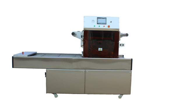Automatic MAP Food Tray Sealer, Continuous Modified Atmosphere Packaging Machine For Container/Cup/Bowl