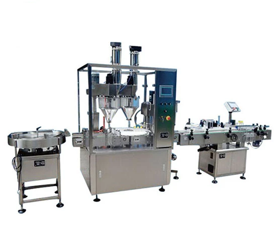2 head full automatic powder filling machine line for Vial powder bottle Auto auger powder bottle