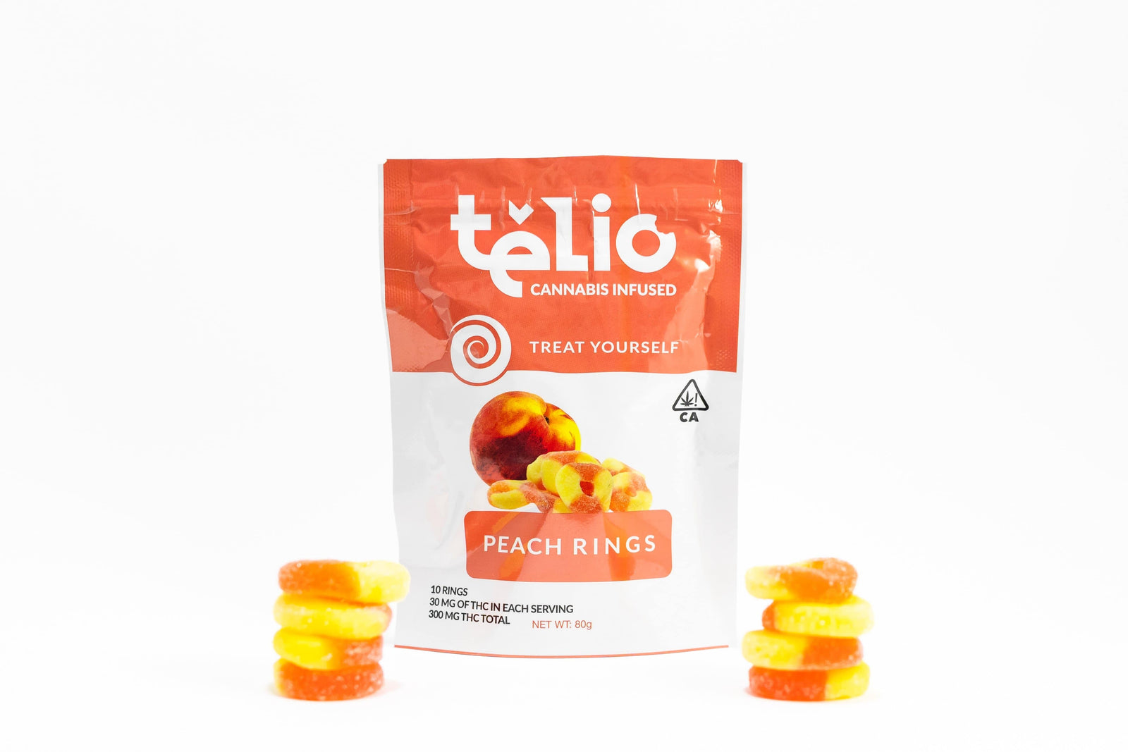 Telio Peach Rings Belts Gummy Edible - The Balloon Room
