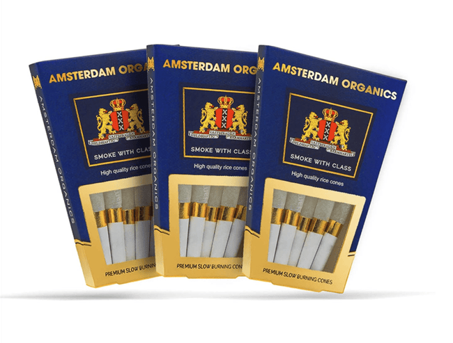 Amsterdam Organics 109mm King Size Rice Paper Pre Rolled Cones - The Balloon Room