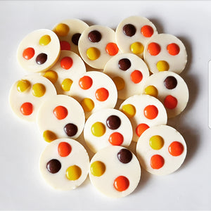 REESES PIECES WHITE CHOCOLATE CIRCLES