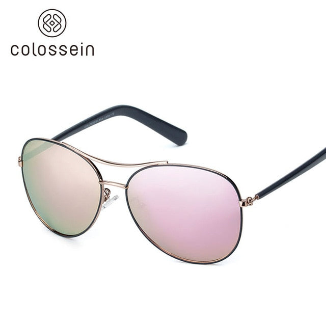 59720f79d ... Load image into Gallery viewer, COLOSSEIN Sunglasses Women Fashion Style  Light Gold Frame Classic Fishing ...
