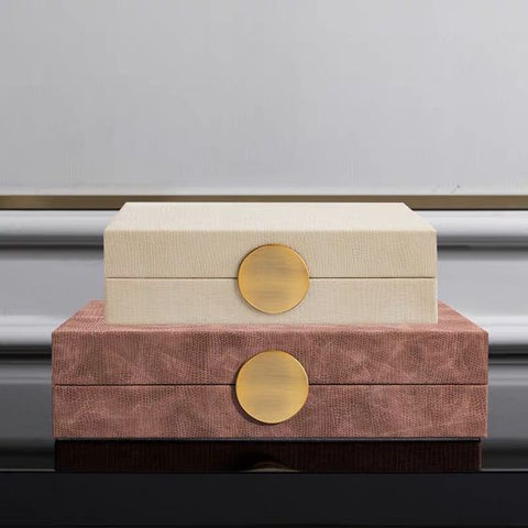 Pink and Cream luxury boxes on table