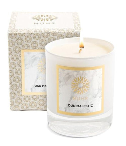 Oud Majestic Classic Candle with branded gift box to back