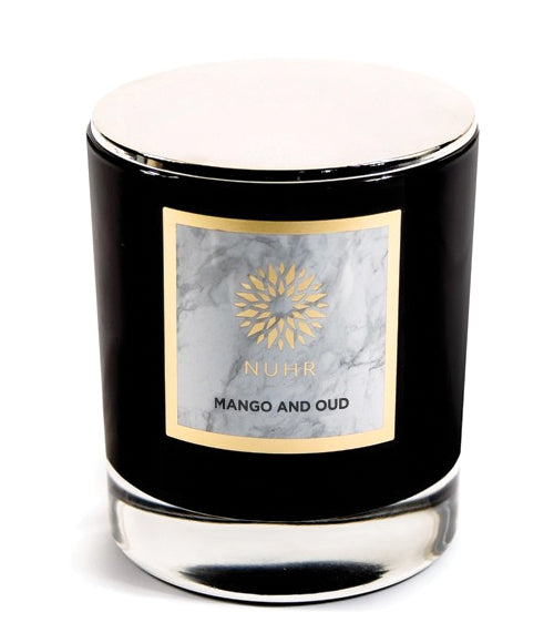 Mango and Oud white wax candle in black glass jar container with silver lid