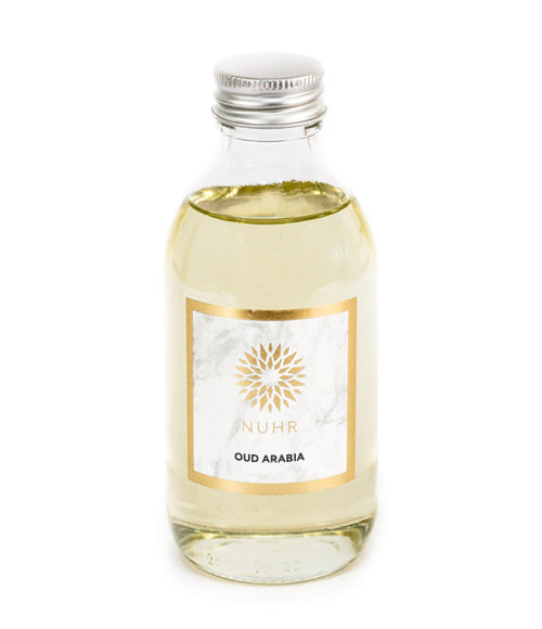 Oud Arabia Reed Diffuser Refill Oil in glass bottle with silver lid
