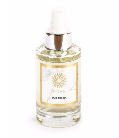 Oud Arabia room spray in bottle with silver collar and white spray