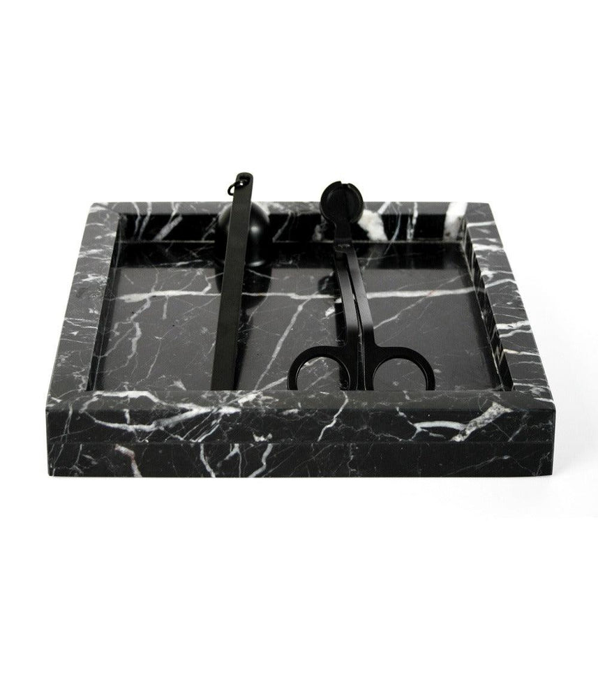 Black Candle Care Set including Marble Plate